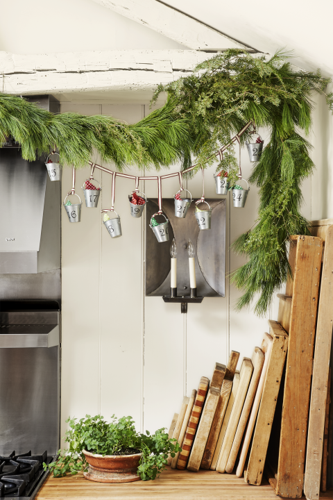 Rustic Christmas Decorations - Galvanized Advent Calendar
