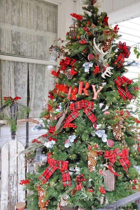 rustic christmas trees plaid farmhouse