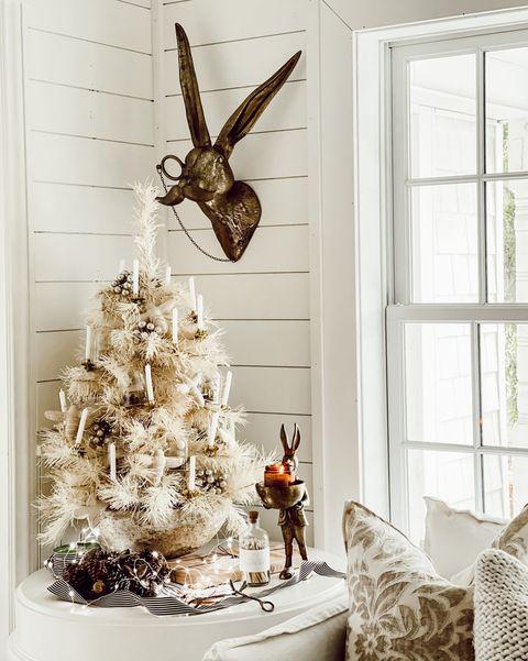 rustic christmas trees mini cozy white