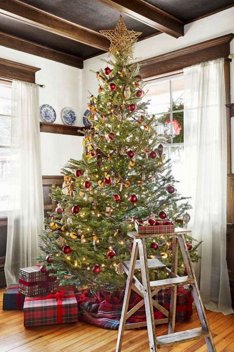 rustic christmas tree with dried oranges