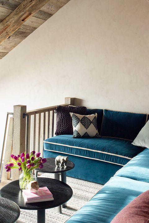 sitting room in rustic landing room