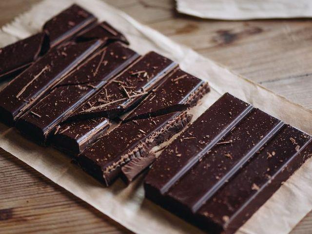 Rustic homemade dark chocolate