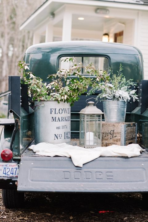 pickup truck bed outdoor wedding decor