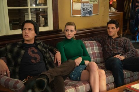 riverdale    chapter seventy six killing mr honey    image number rvd419a0213b    pictured l   r cole sprouse as jughead jones, lili reinhart as betty cooper, and casey cott as kevin keller    photo kailey schwermanthe cw    © 2020 the cw network, llc all rights reserved