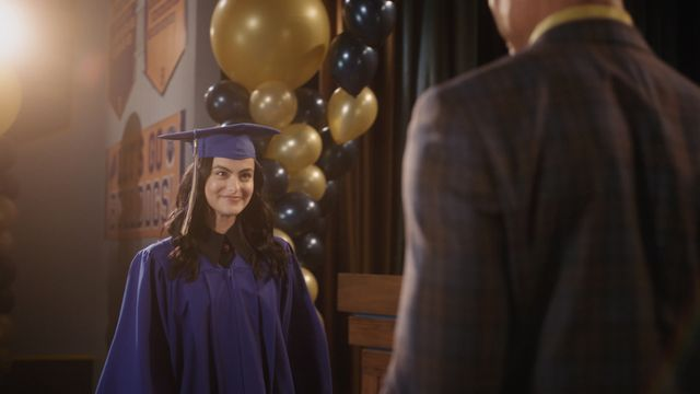 """riverdale    """"chapter seventy nine graduation""""    image number rvd503fg0053r    pictured camila mendes as veronica lodge    photo the cw    © 2021 the cw network, llc all rights reserved"""