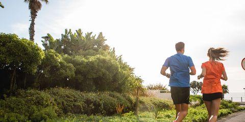 Road, Running, Exercise, Endurance sports, Jogging, People in nature, Shorts, Athletic shoe, Asphalt, Active shorts,