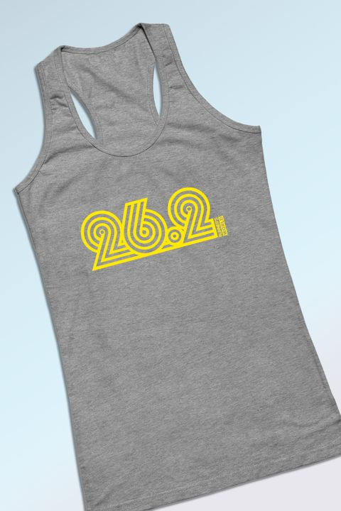 Clothing, Active tank, Sleeveless shirt, Grey, Yellow, Outerwear, T-shirt, Font, Sleeve, Sportswear,