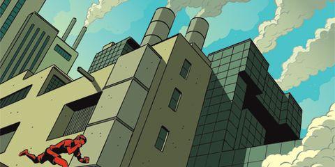 illustration of running in smog