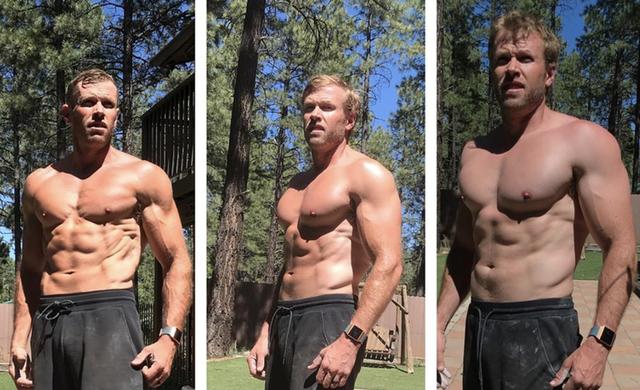 tres imágenes del exmaratoniano estadounidense ryan hall sin camiseta