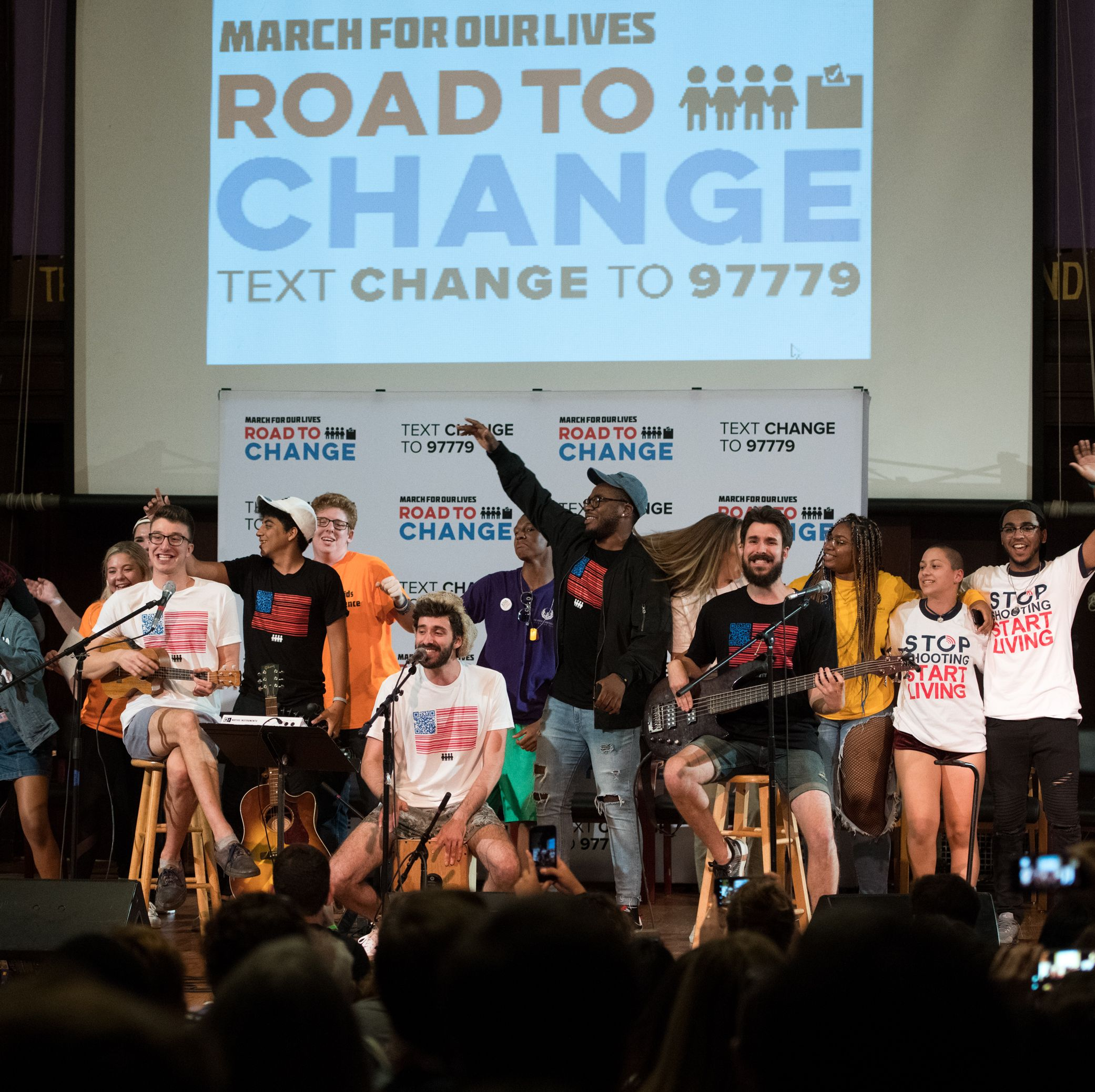 The Parkland activists perform on stage at a Road to Change town hall held on August 10, 2018 in New York City.