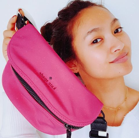 Pink, Shoulder, Bag, Cheek, Handbag, Neck, Material property, Fashion accessory, Magenta, Zipper,