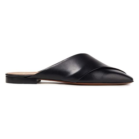 atp atelier 黑色皮革平底拖鞋