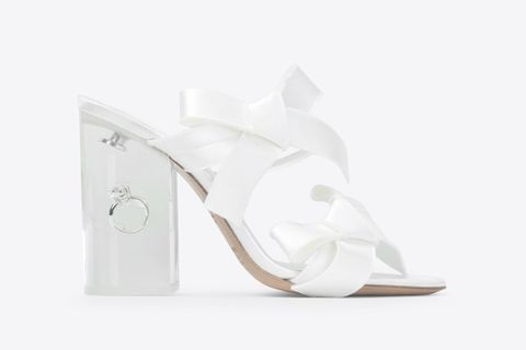 Footwear, White, Slingback, Shoe, Sandal, Bridal shoe, Beige, High heels,