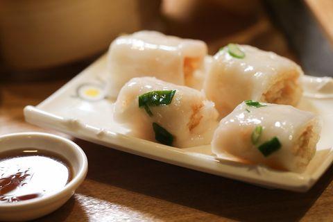 Dish, Food, Cuisine, Ingredient, Rice noodle roll, Dim sim, Vegetarian food, Bánh ướt, Produce, Comfort food,