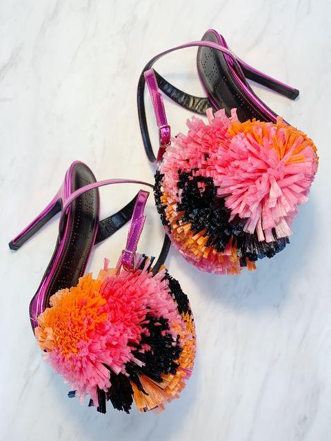 Pink, Orange, Flower, Pom-pom, Cut flowers, Hair accessory, Plant, Footwear, Crochet, Artificial flower,