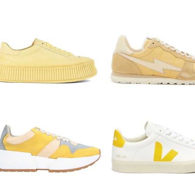 Footwear, Shoe, Yellow, Walking shoe, Sneakers, Beige, Plimsoll shoe, Athletic shoe, Font, Outdoor shoe,