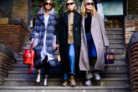 Street fashion, Clothing, Fashion, Tartan, Plaid, Textile, Outerwear, Jeans, Denim, Photography,