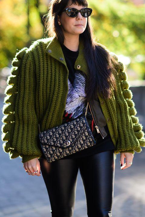 Clothing, Street fashion, Green, Fashion, Outerwear, Eyewear, Jeans, Fur, Jacket, Sunglasses,