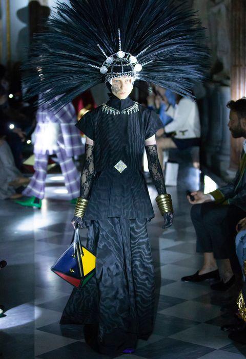 Fashion, Haute couture, Architecture, Dress, Black hair, Fashion design, Runway, Goth subculture,