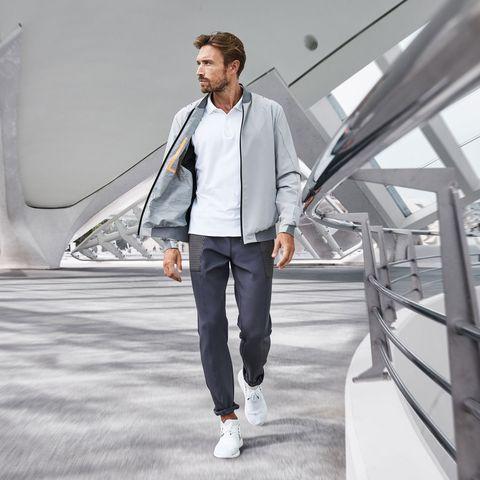 Clothing, White, Street fashion, Fashion, Outerwear, Jeans, Jacket, Coat, Footwear, Collar,