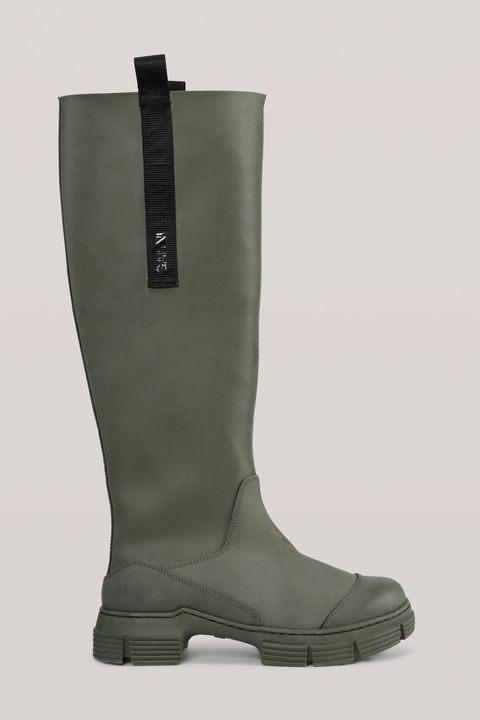 ganni green wellington boots