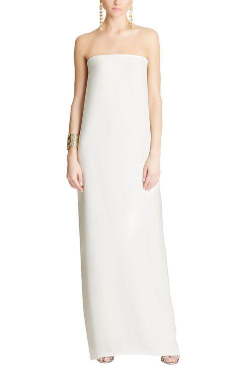 Clothing, Dress, Gown, Strapless dress, Shoulder, Day dress, Cocktail dress, Formal wear, Bridal party dress, Neck,