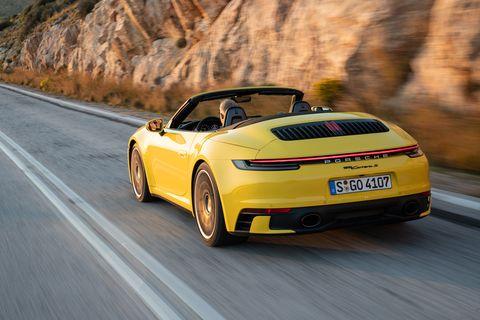 Land vehicle, Vehicle, Car, Convertible, Automotive design, Yellow, Sports car, Performance car, Supercar, Coupé,