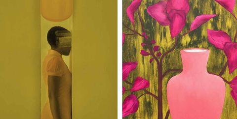 Painting, Modern art, Art, Yellow, Pink, Visual arts, Magenta, Still life, Acrylic paint, Illustration,