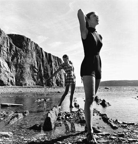 modeling swimsuits on tideflat