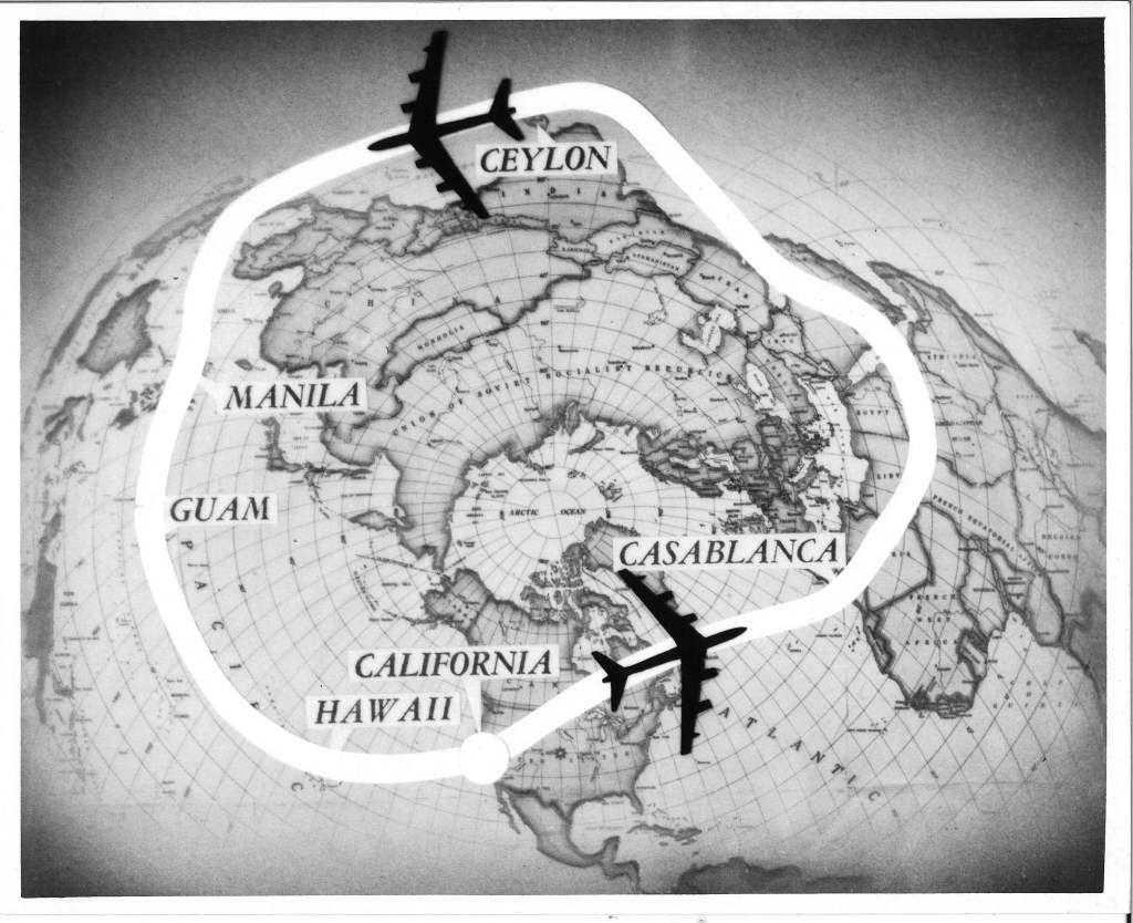A rota da Operação Power Flite em 1957.