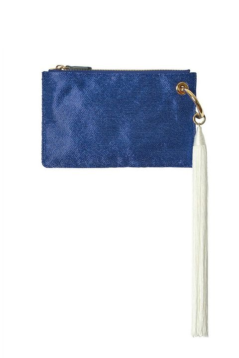 Blue, Denim, Handbag, Wallet, Bag, Wristlet, Fashion accessory, Leather, Electric blue, Jeans,