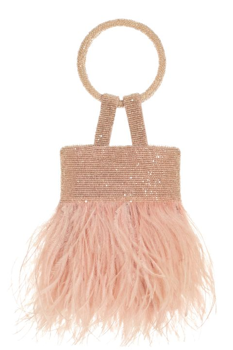 Pink, Bag, Fashion accessory, Handbag, Beige, Peach, Fur,