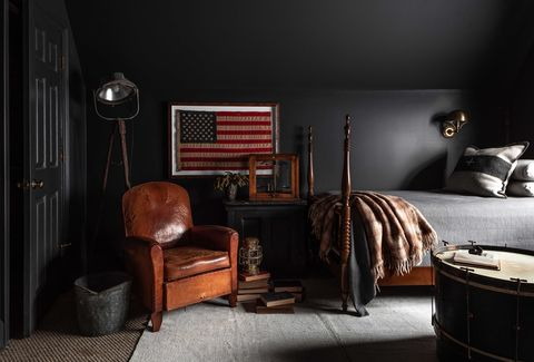 black painted walls, leather brown lounge chair, american flag,