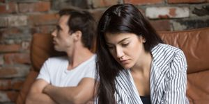 Sad pensive young girl thinking of relationships problems after fight