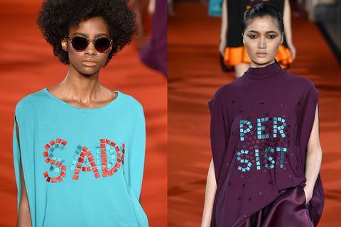 Clothing, Fashion model, Fashion, T-shirt, Sleeve, Turquoise, Fashion design, Neck, Cool, Human,