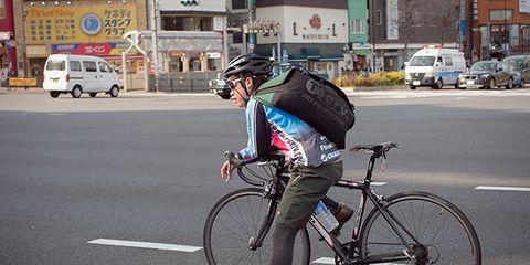 An urban cyclist in Japan