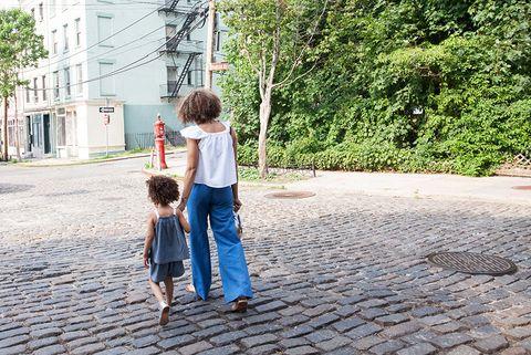 Photograph, People, Child, Snapshot, Standing, Toddler, Tree, Cobblestone, Fun, Leaf,