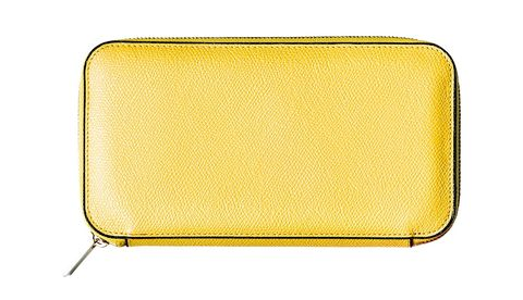 Yellow, Wallet, Coin purse, Fashion accessory, Rectangle, Bag, Wristlet, Handbag, Leather,