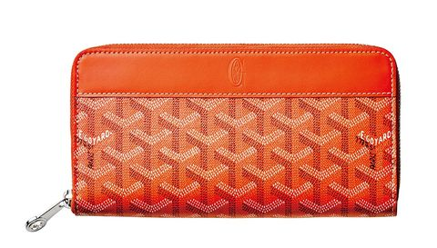 Wallet, Red, Orange, Fashion accessory, Coin purse, Rectangle, Handbag, Wristlet, Material property, Zipper,