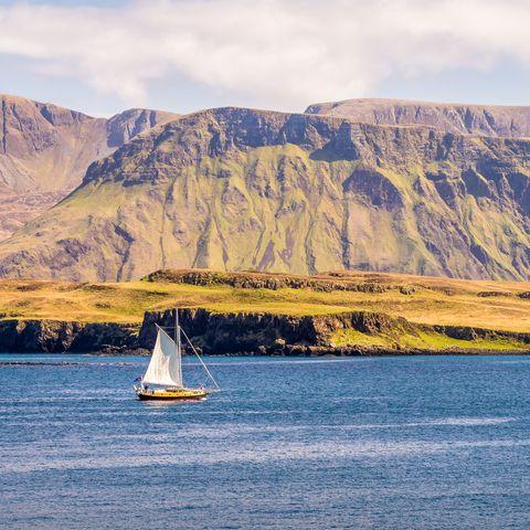Sailing around Rhum Island Inner Hebrides Scotland