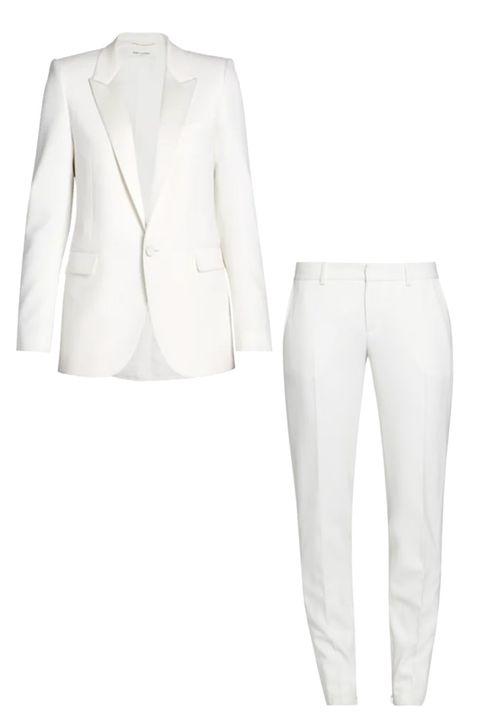 saint laurent white blazer white pant