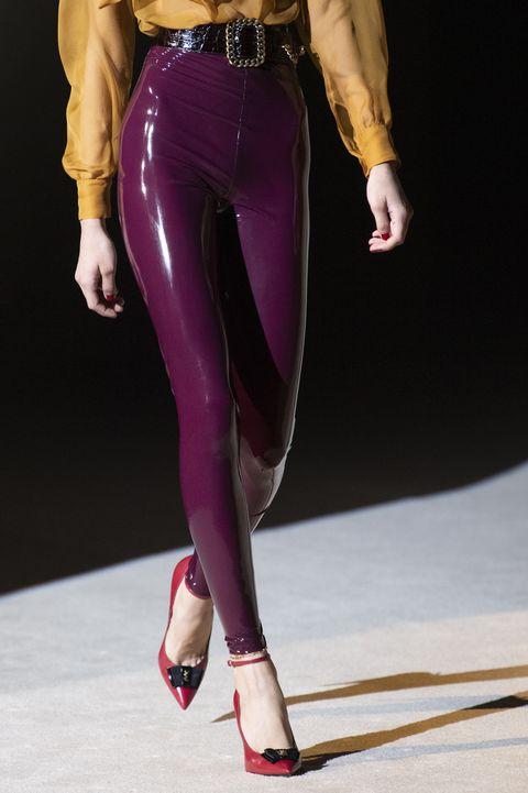 Clothing, Leggings, Latex clothing, Waist, Fashion, Tights, Leg, High heels, Fashion model, Purple,