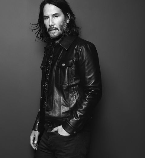 Black, White, Leather, Jacket, Leather jacket, Standing, Beauty, Facial hair, Hairstyle, Monochrome,