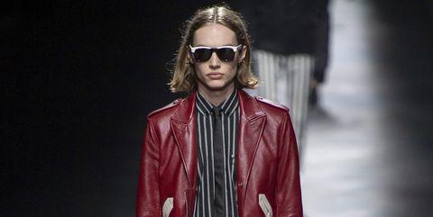 Fashion model, Fashion, Runway, Fashion show, Clothing, Leather, Leather jacket, Jacket, Human, Textile,