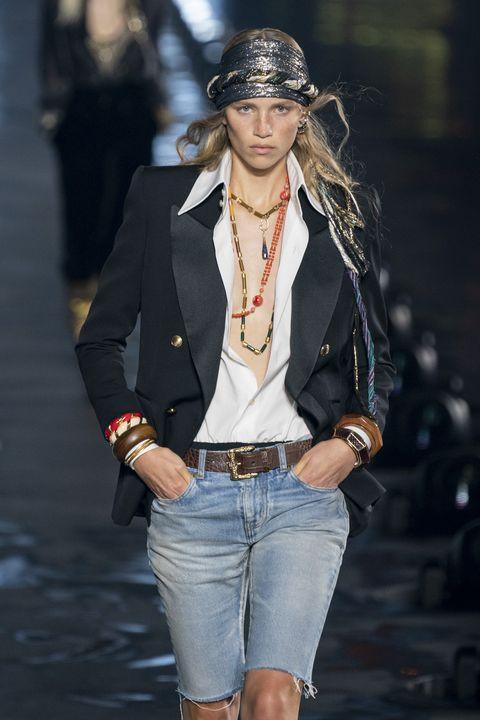 Clothing, Fashion, Fashion model, Fashion show, Jeans, Denim, Runway, Outerwear, Hairstyle, Jacket,