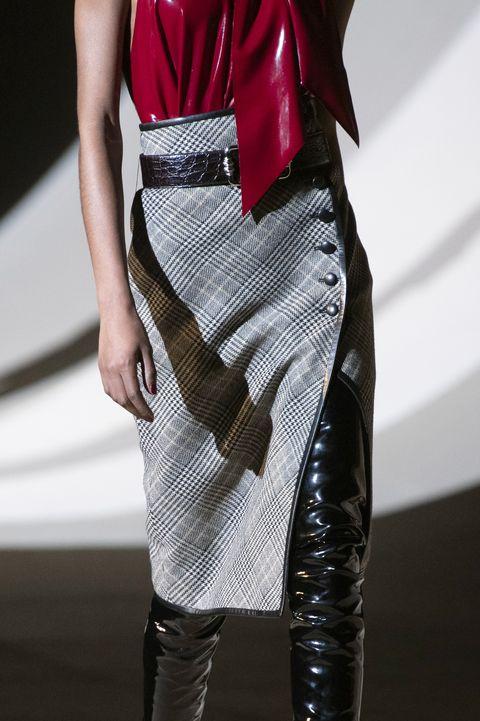 Clothing, Fashion, Fashion model, Leather, Dress, Waist, Footwear, Fashion design, Haute couture, Outerwear,
