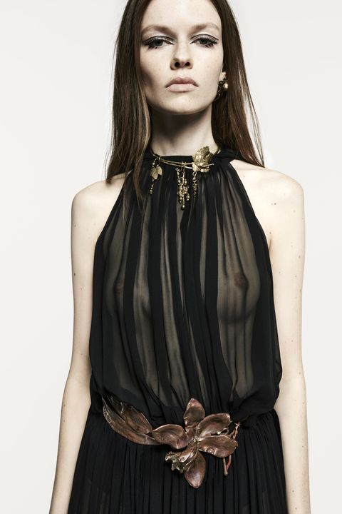 Clothing, Hairstyle, Shoulder, Dress, Fashion model, Formal wear, Style, Day dress, Fashion, Neck,
