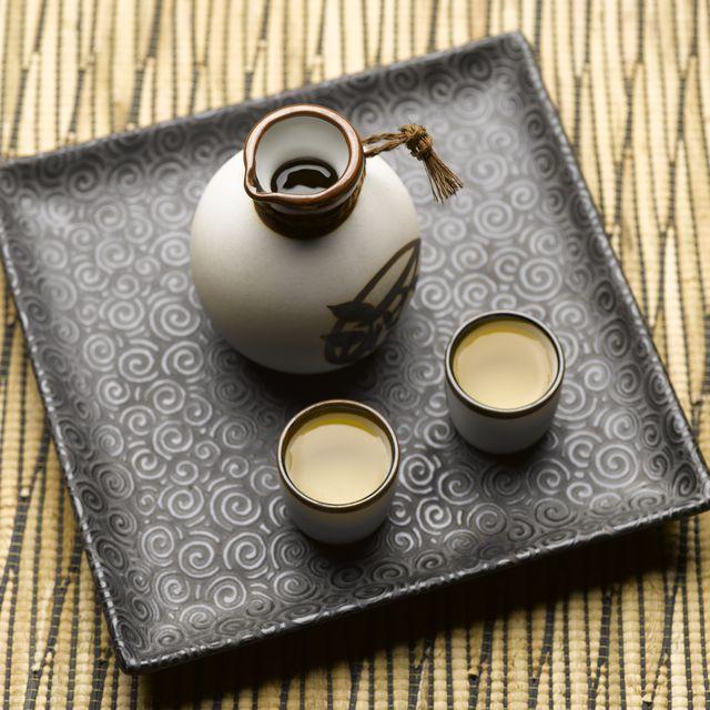sake set on tray, elevated view