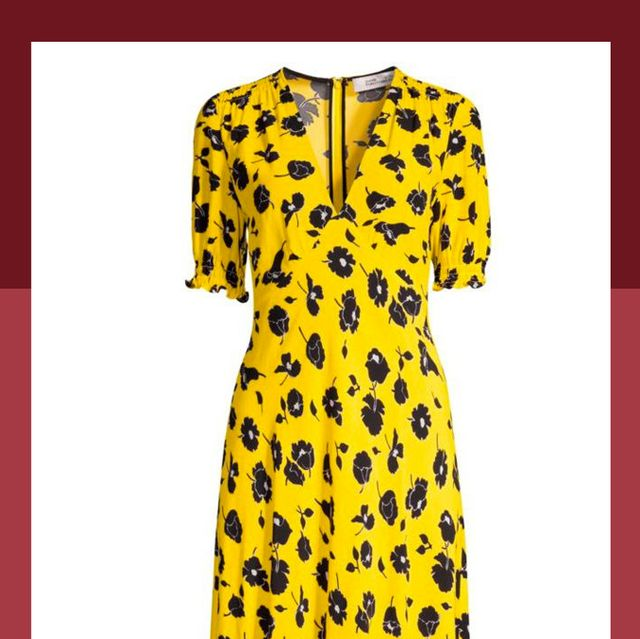 Clothing, Day dress, Dress, Yellow, Outerwear, Trench coat, Sleeve, Coat, Pattern, Pattern,