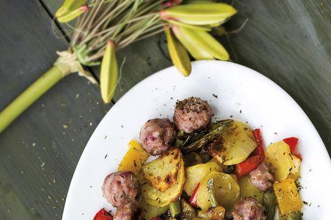 salchichas con verduras